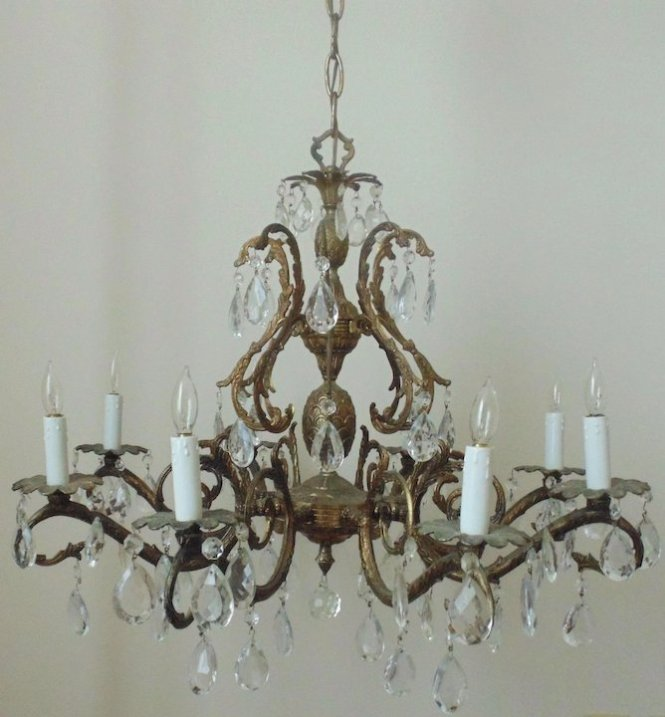 Vintage Chandelier Bronze Finish Pinele Birdcage Bird Cage 8 Lights Dripping Faceted Cut Glass Prisms Res