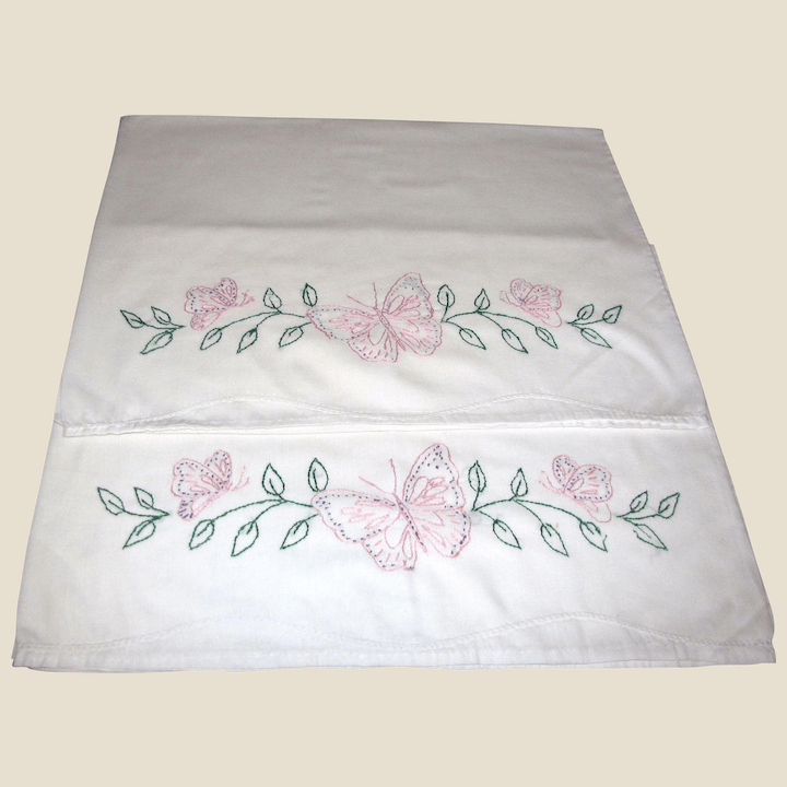 pair of butterfly hand embroidered pillow shams