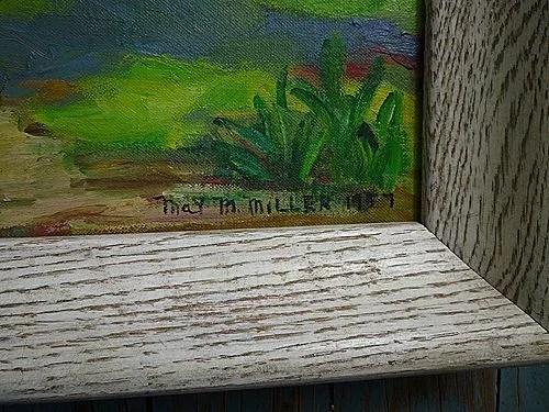 Tropical Landscape Palm Trees Painting Signed 1957 : Chez