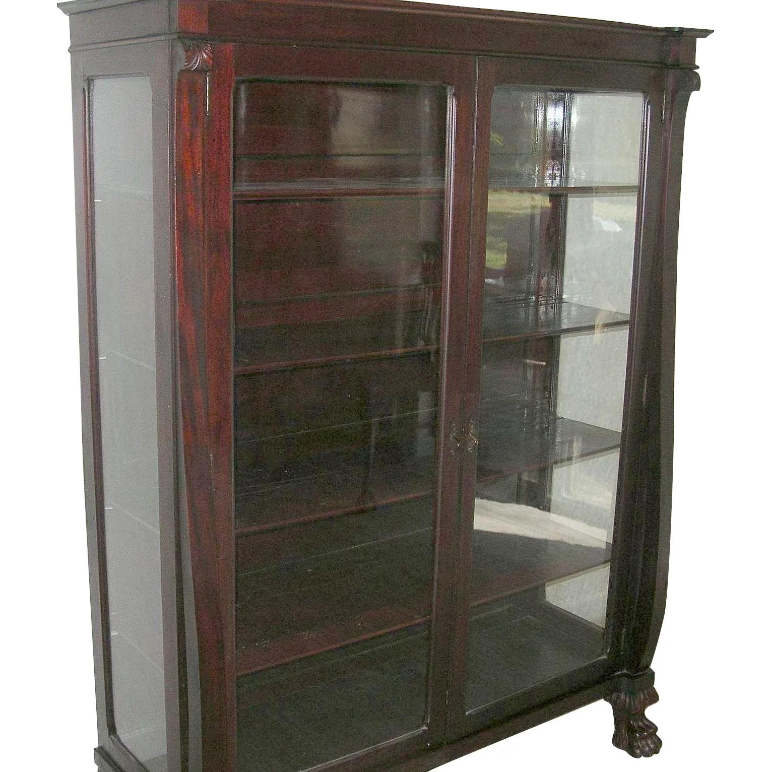 Antique Mahogany Bookcase Glass Panel Doors Claw Feet 1870 S