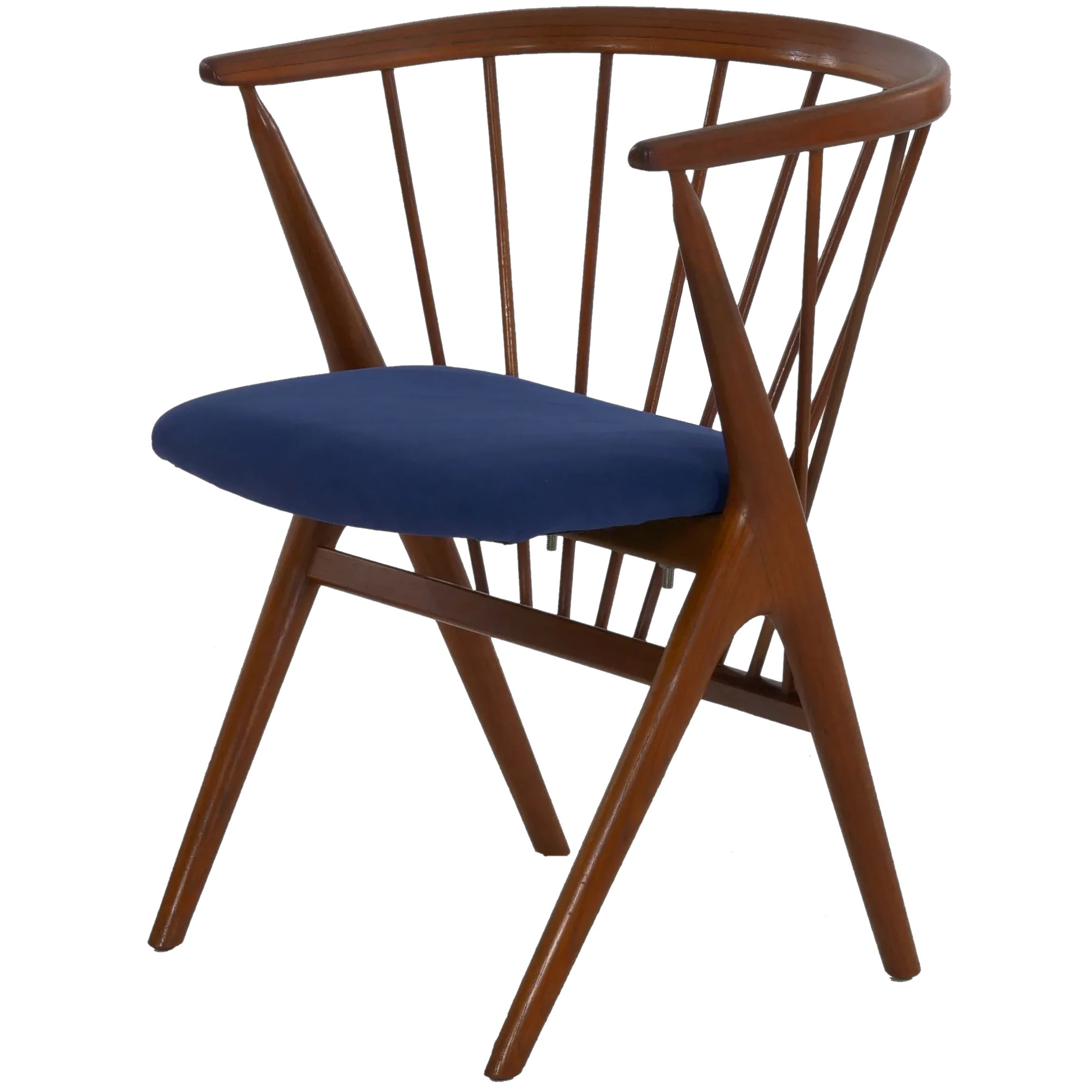 Danish Mid Century Modern Spindle Back Arm Chair No 8 By Helge Silla Ltd Ruby Lane