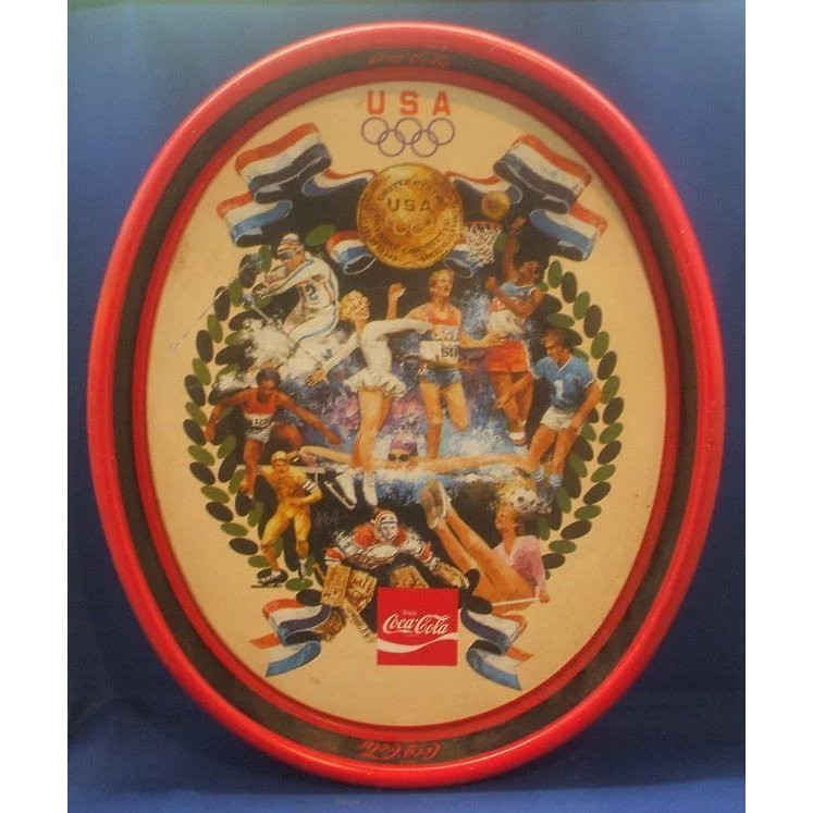 Coca Cola Olympic Records 1980s Tin Tray SOLD Ruby Lane