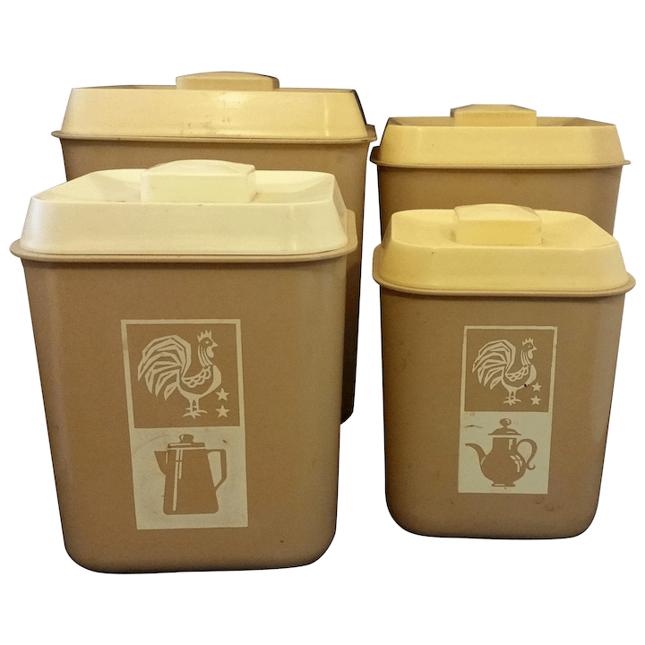 beige cream plastic kitchen canister set of 4 rooster sifter