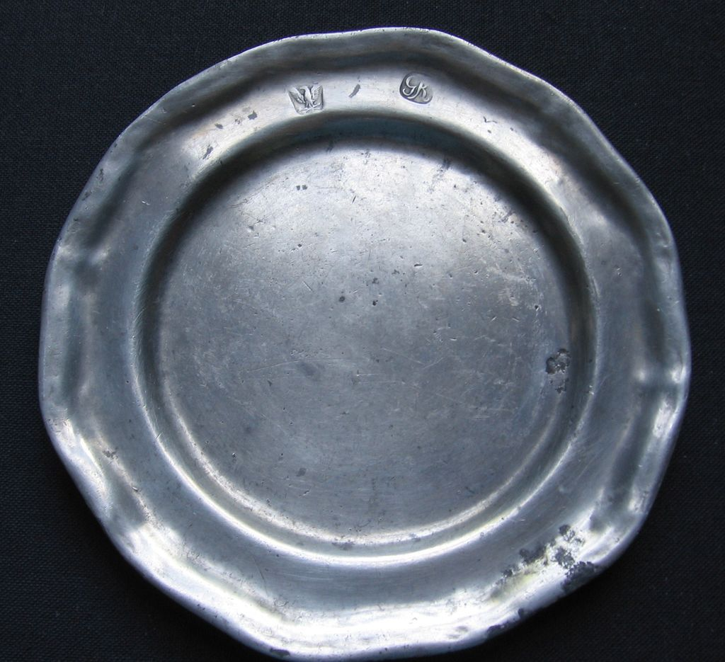 American Pewter Plate With Eagle Touch Mark Marked GR
