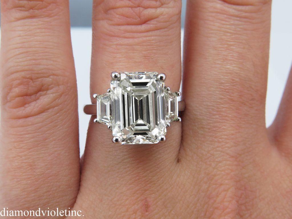 Vintage 594ct Emerald Cut Trapezoid Diamond Three Stone