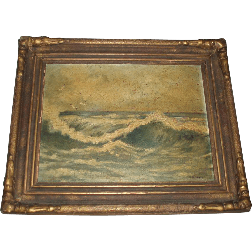 Antique Seascape Oil Painting Of Waves Signed From