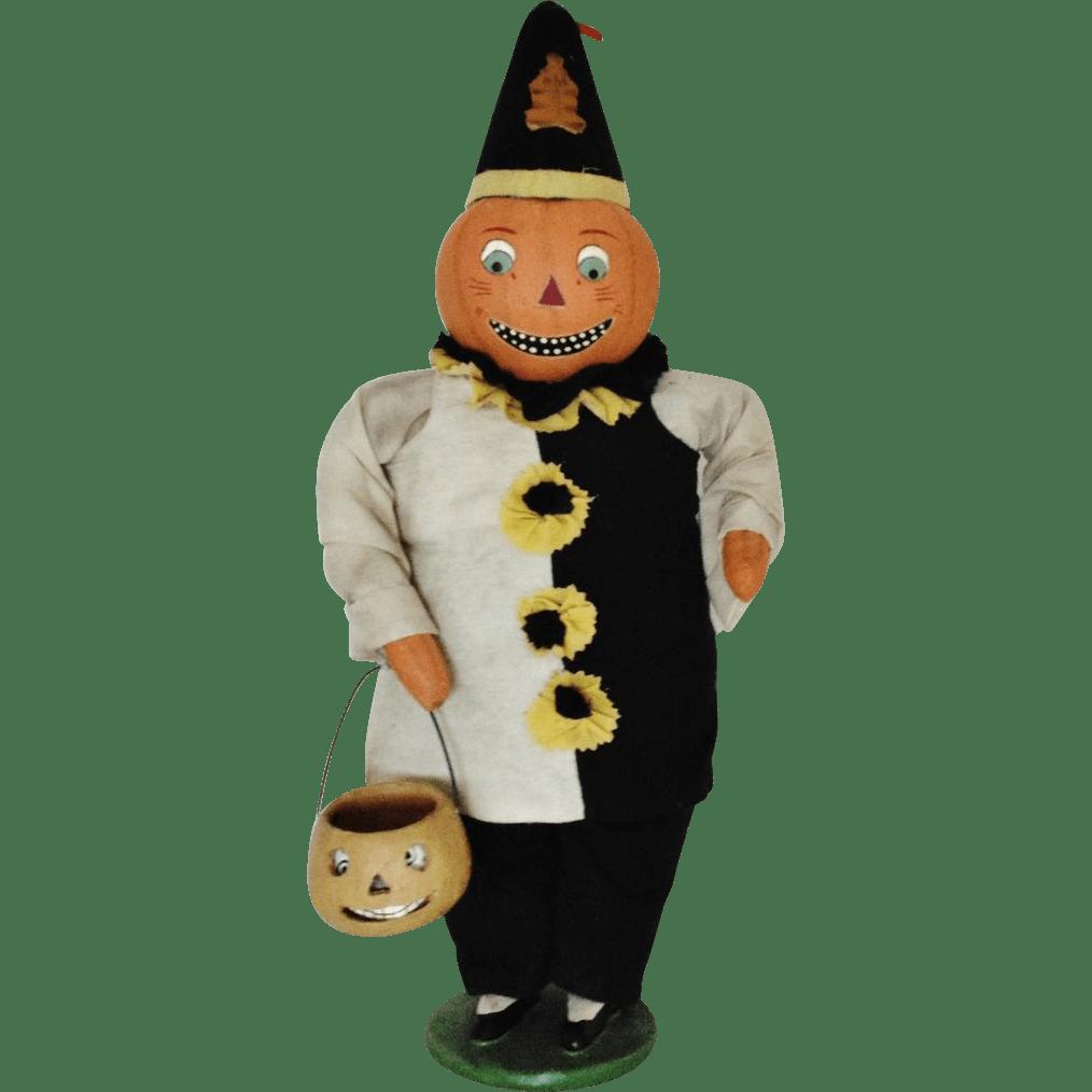 Halloween Pumpkin Doll W Jack O Lantern Cloth Decoration