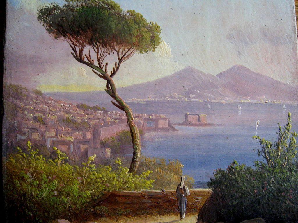 Antique Miniature Painting Bay Of Naples With Vesuvius C