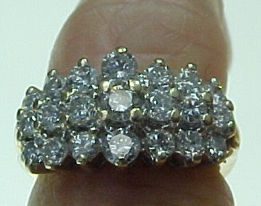Vintage 14K Yellow White Gold Three Row 1 Carat Diamond