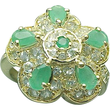 14K Yellow Gold Emerald Amp Goshenite Ring From