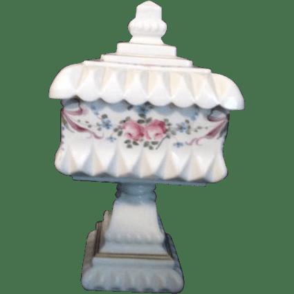 Westmoreland White Milk Glass FootedLidded Candy Dish