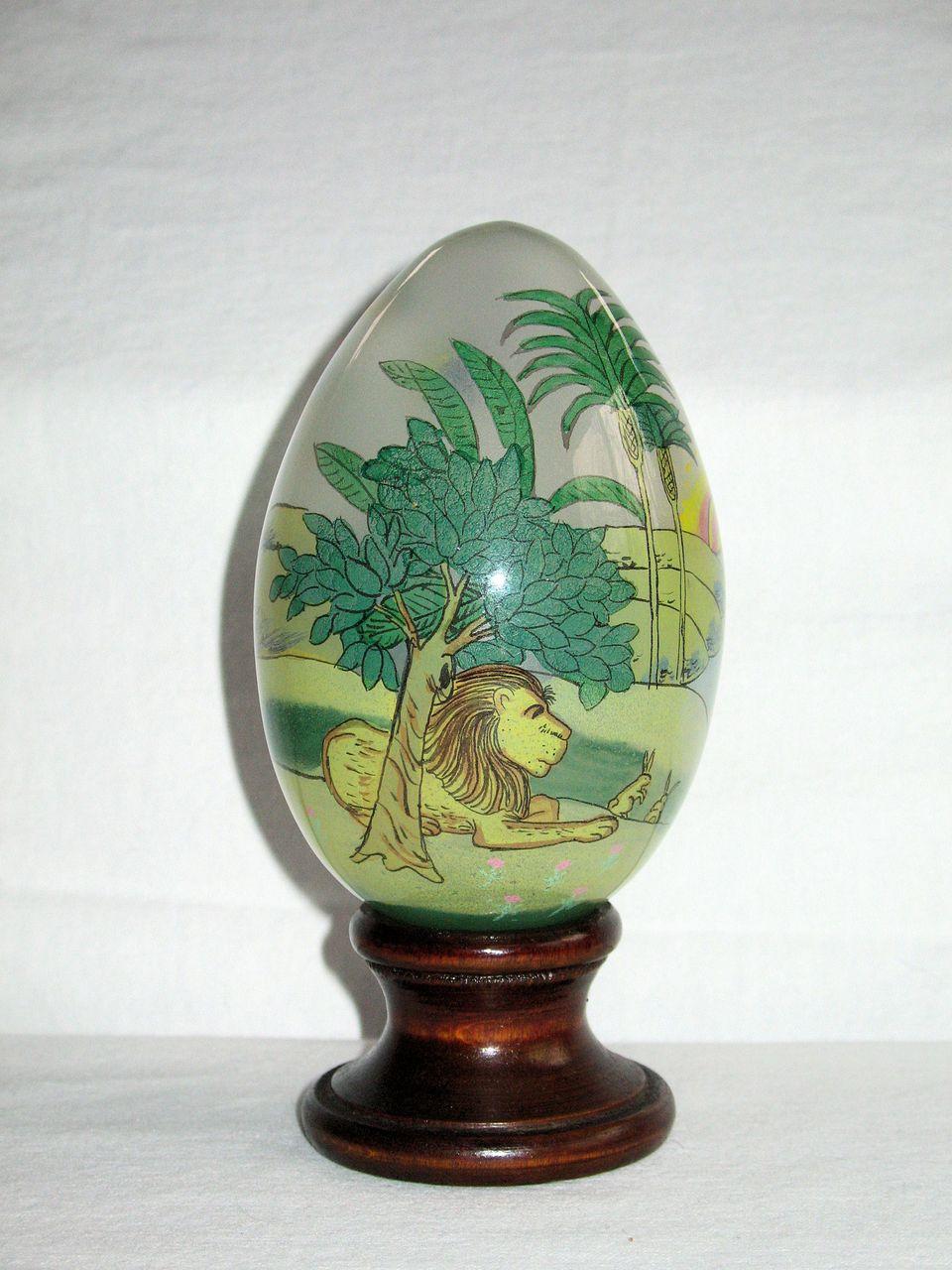 Treasured Visions Reverse Inside Painted Glass Egg