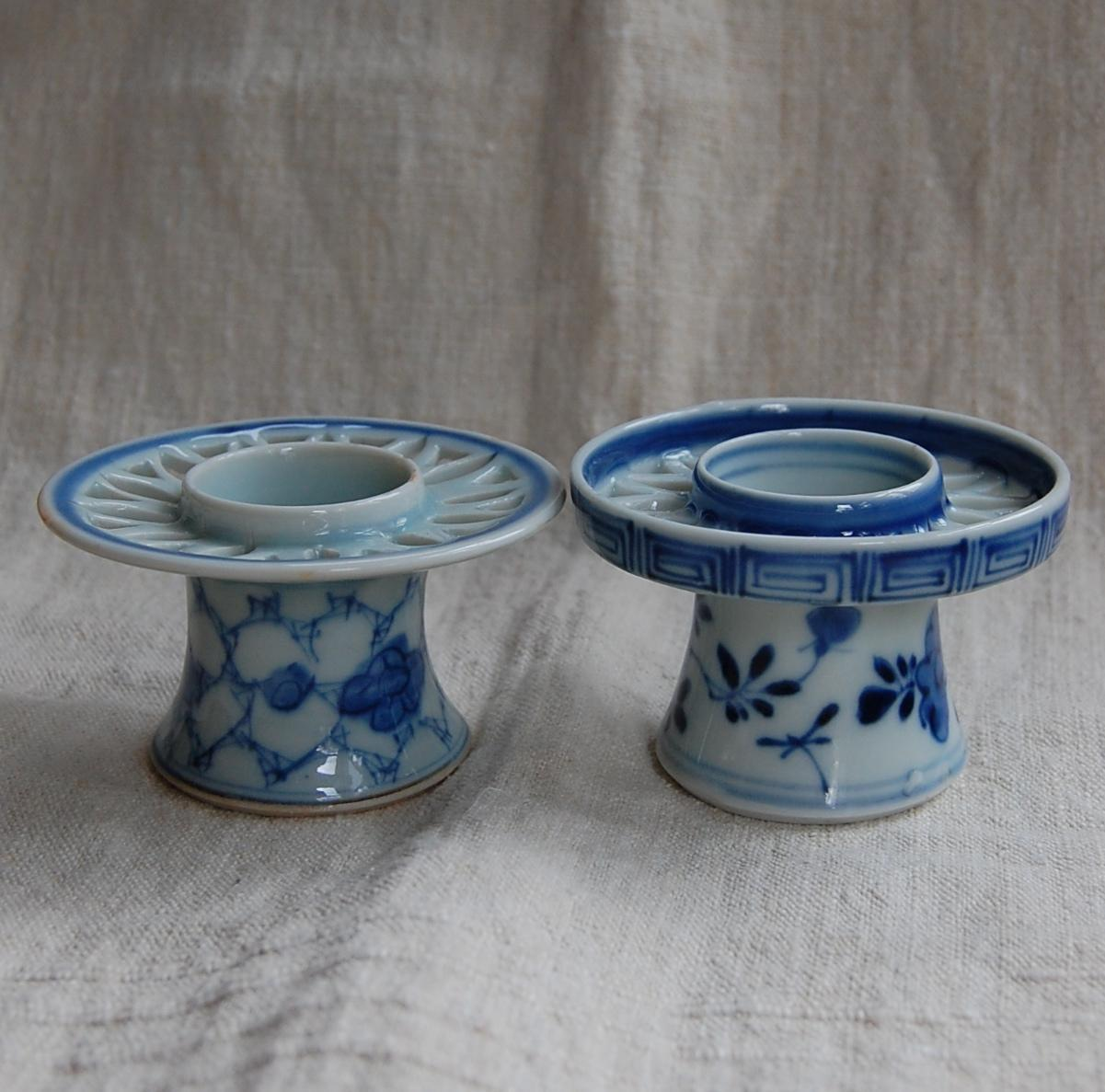 Chinese Export Porcelain Blue And White Candle Holders From Starrhillantiques On Ruby Lane