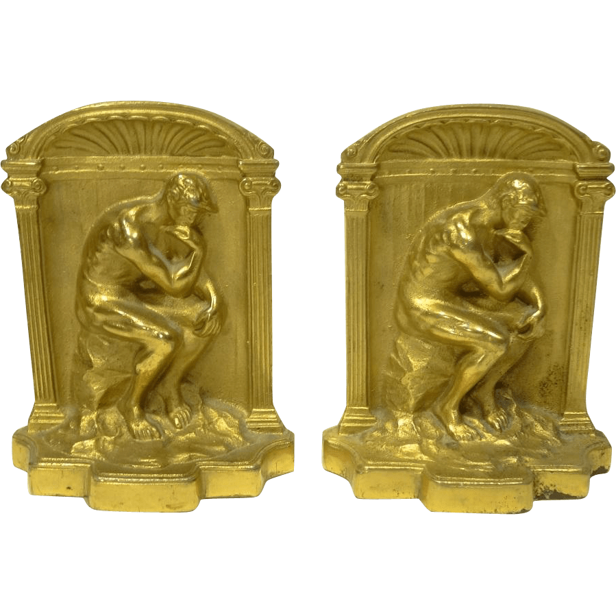 Beautiful Gilt Bookends The Thinker From Collectors Row