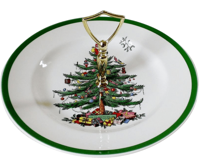 Spode Christmas Tree Green Trim Round Serving Plate With Handle Annies Avenue Antiques Ruby Lane