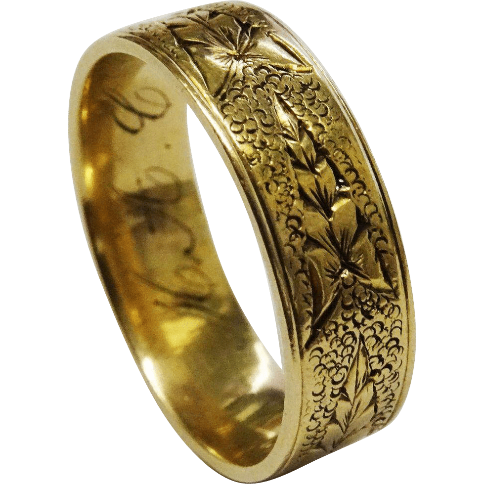 Victorian 12K Gold Leaf Band Ring Fine Hand Chased Wedding