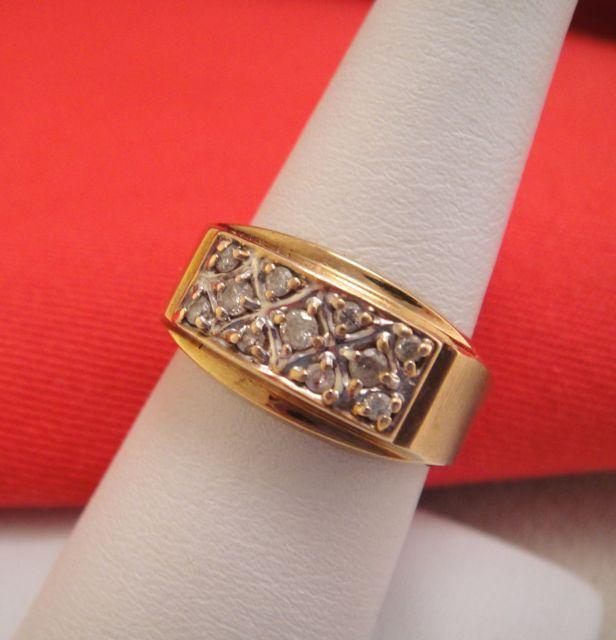 Vintage Estate Diamond 10k Gold Mens Ring Band From