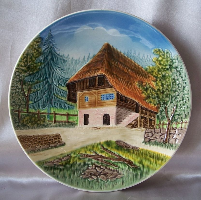 German Majolica Wall Plate Country Cottage Scene From