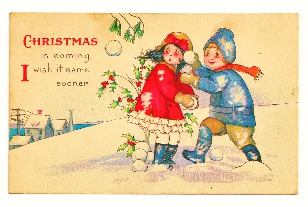 Vintage C1925 Christmas Greeting Postcard Cartoon
