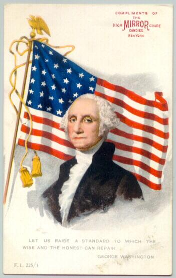 George Washington Patriotic Postcard Advertisement For