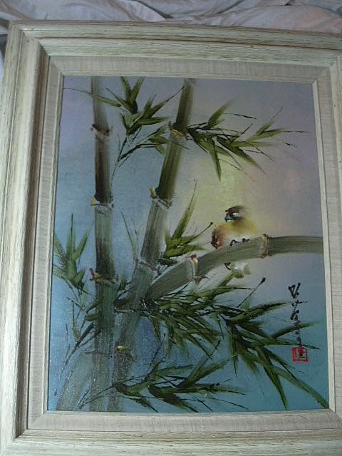 Japanese Signed Painting Bird Amp Bamboo Framed From