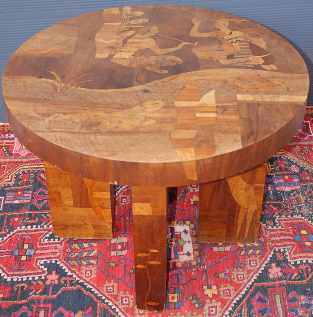 A Rare Antique Marquetry Inlaid Wooden Coffee Table With