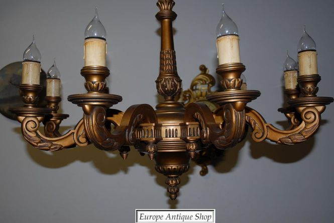 A Huge French Antique Carved Wood Gilded 9 Light Chandelier Europe Antiques Collectibles And Decorations Ruby Lane