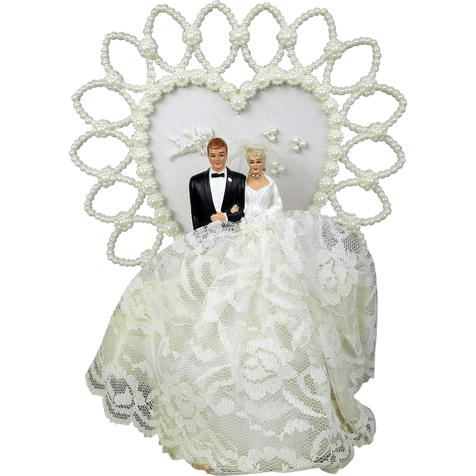 Vintage Bride And Groom Wedding Cake Topper Faux Pearl