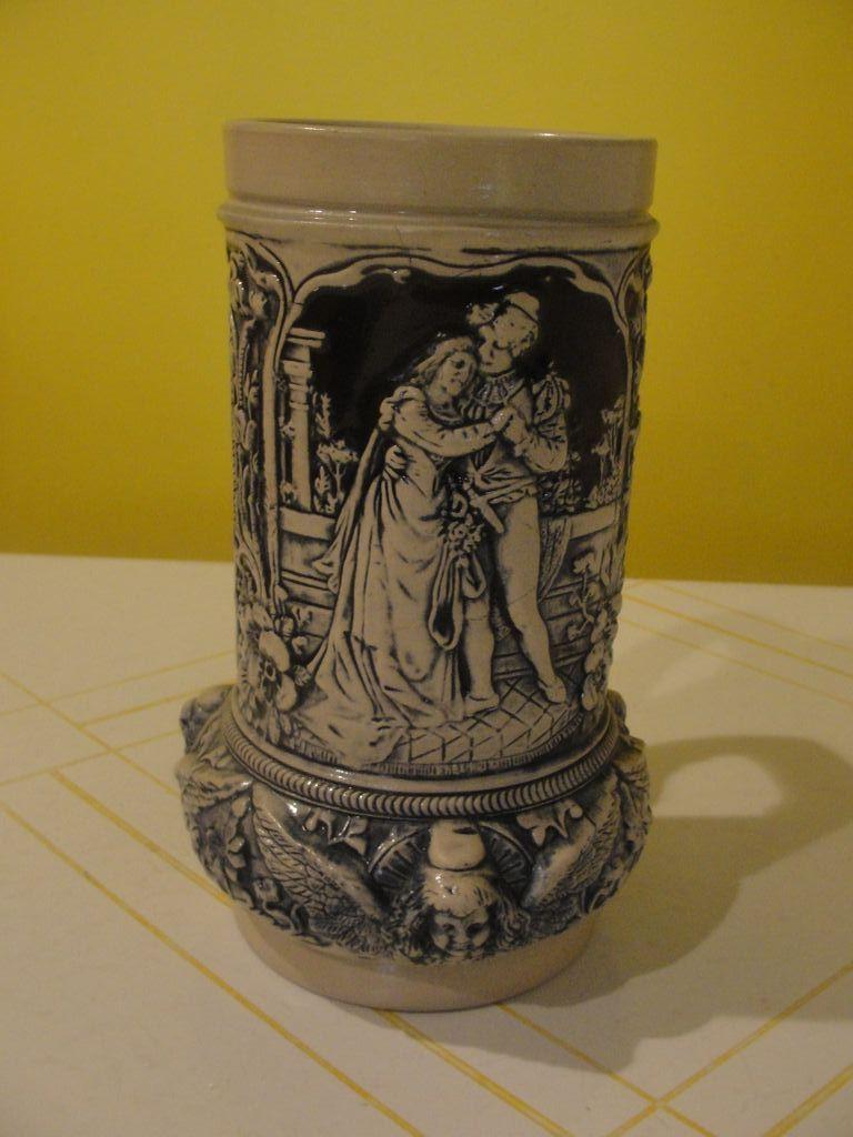 Loving Couple Alt Grenzau 1894 Cobalt Salt Glaze Open