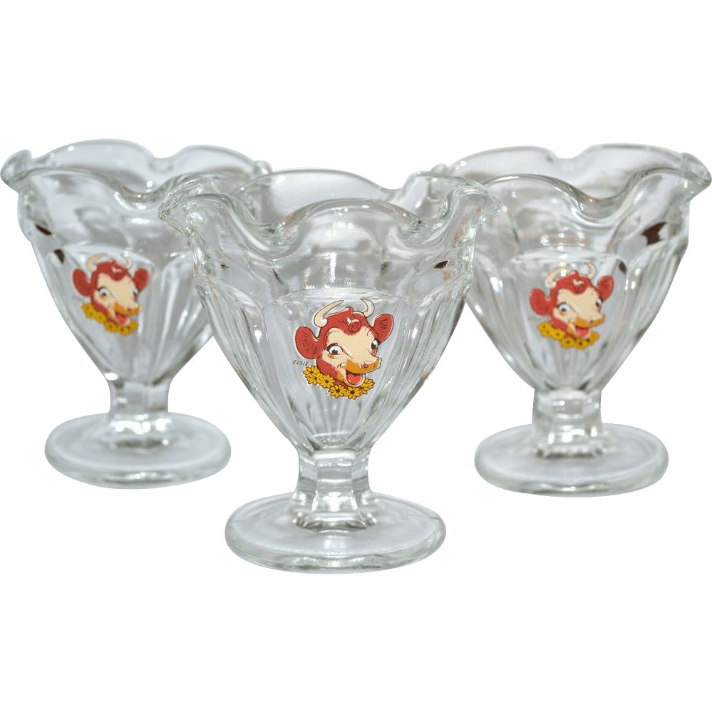 Set Of 3 Elsie The Cow Ruffled Glass Ice Cream Dishes From