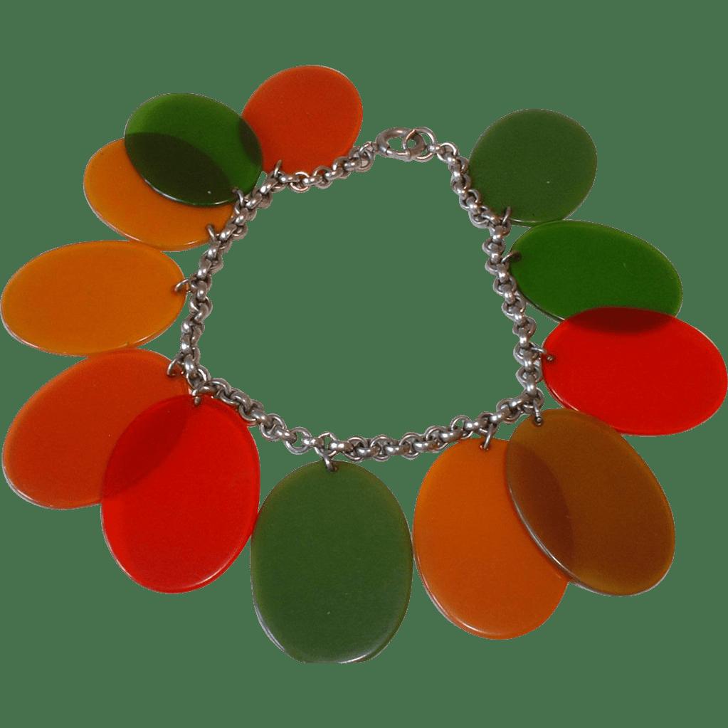 Vintage BAKELITE Transparent Colored Oval Dangles Charm