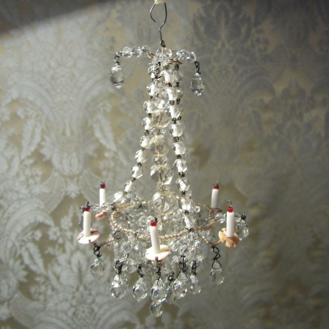 Dazzling Crystal Chandelier Antique Original For Doll S House