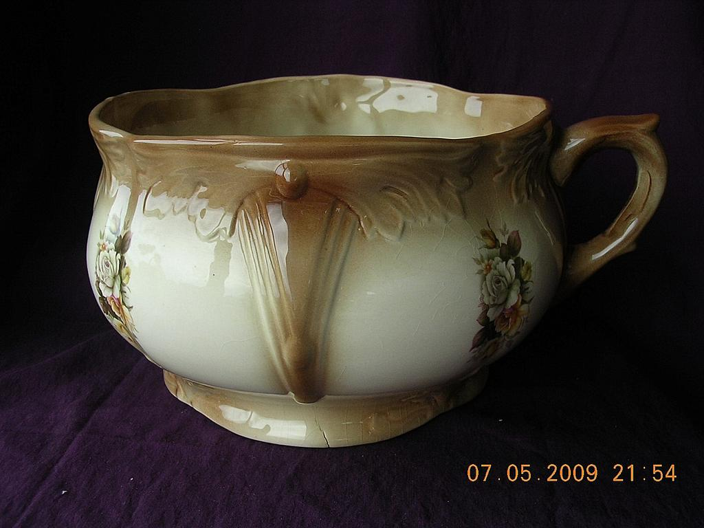 Victorian Staffordshire Porcelain Chamber Pot Or Potty
