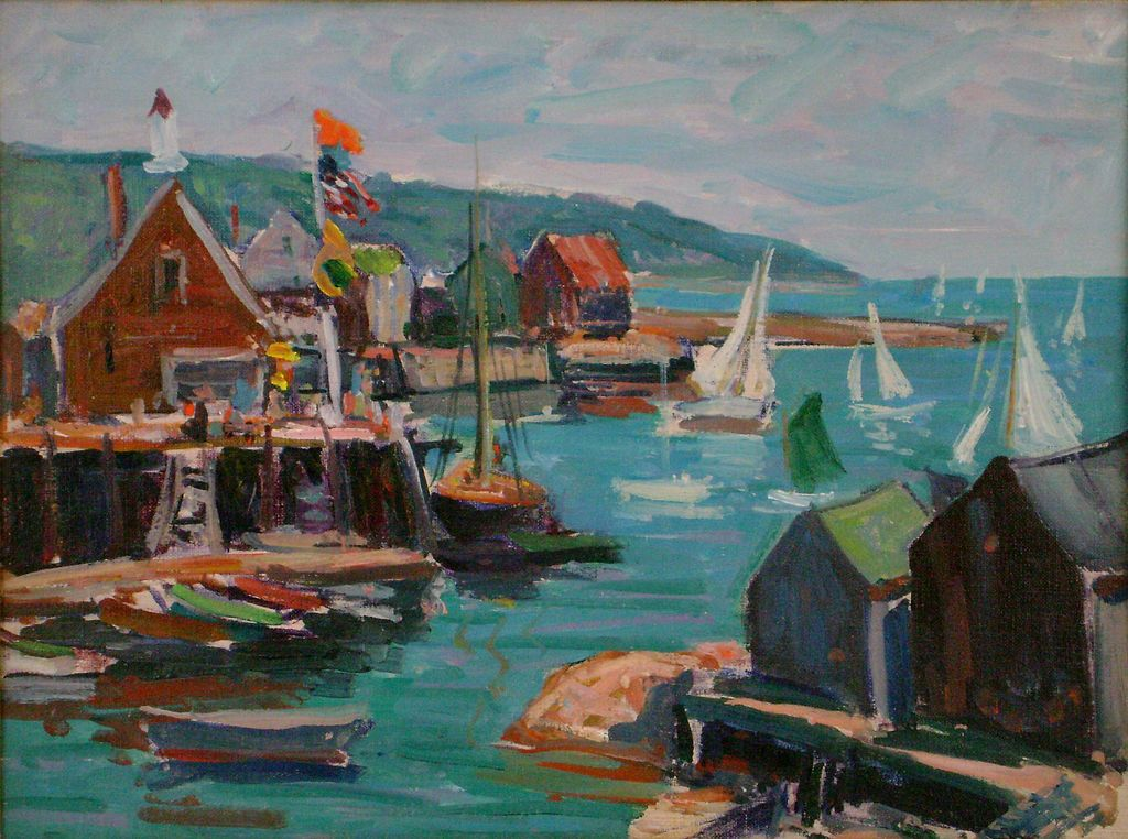 Clayton Roy Morse Oil Painting Of A Harbor Scene From
