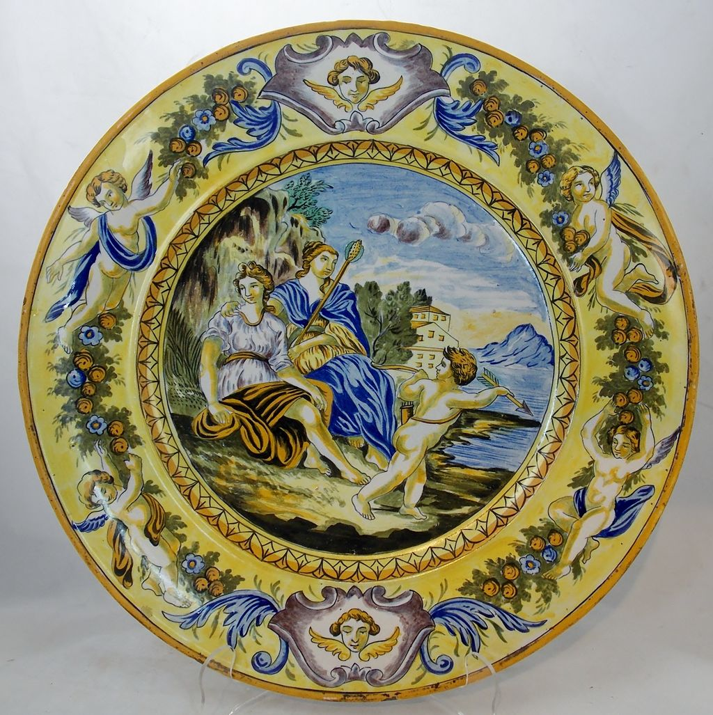 19th C Italian Pottery Charger With Romantic Scene