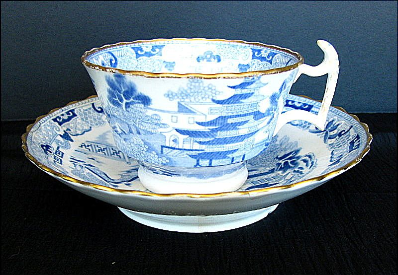 Spode Cup Rathbone Saucer Two Temples II Broseley