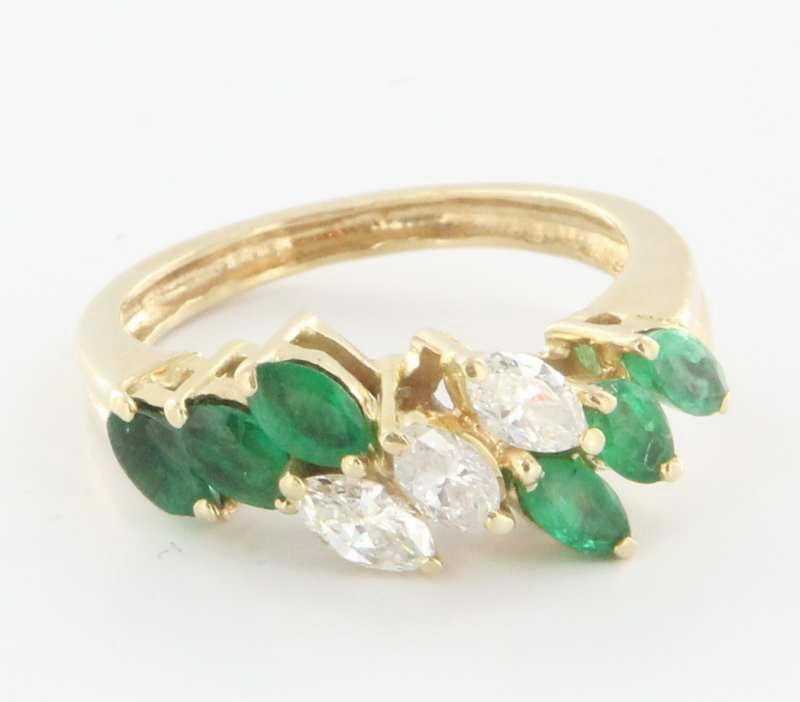 Vintage 14 Karat Yellow Gold Diamond Emerald Ring Fine