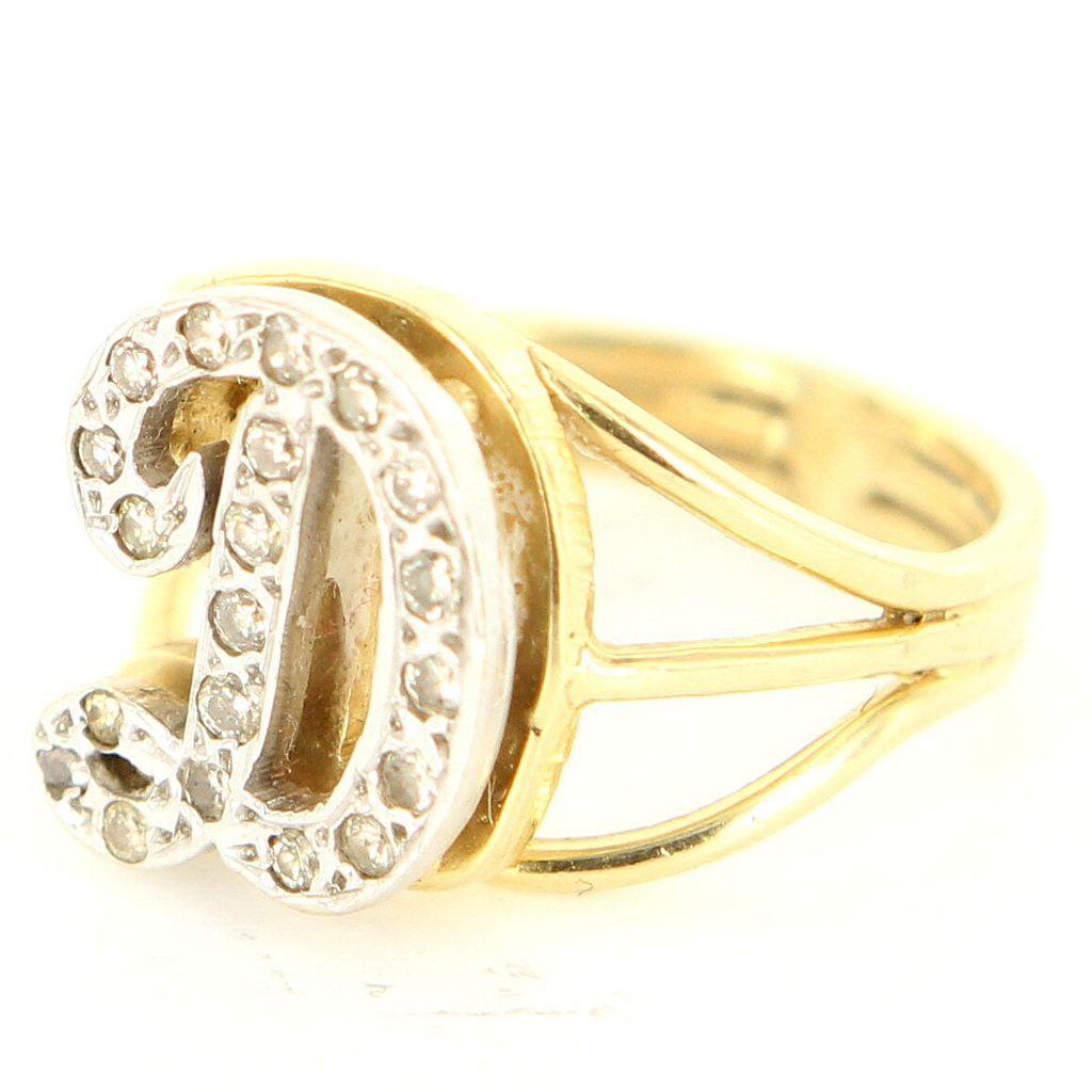 Vintage 14 Karat Yellow Gold Diamond Letter D Initial