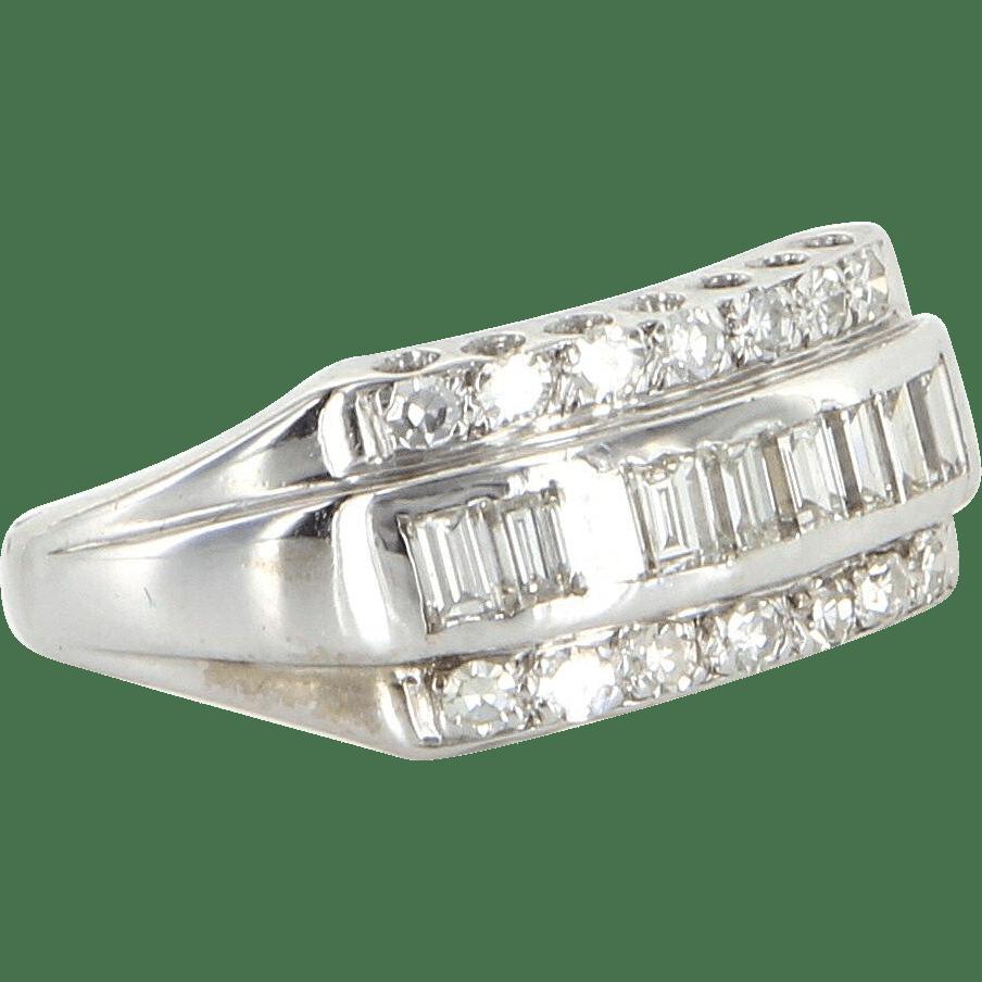 Vintage Diamond Anniversary Ring 14 Karat White Gold