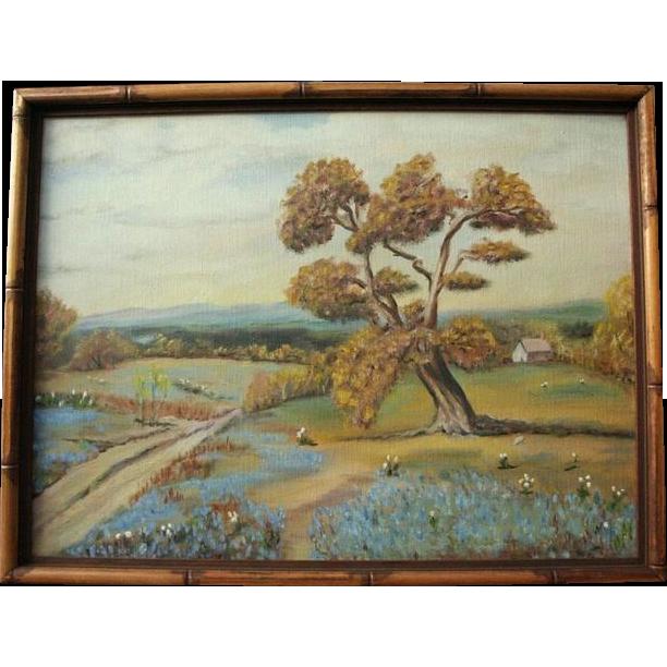 Vintage Texas Bluebonnet Original Oil Painting Landscape