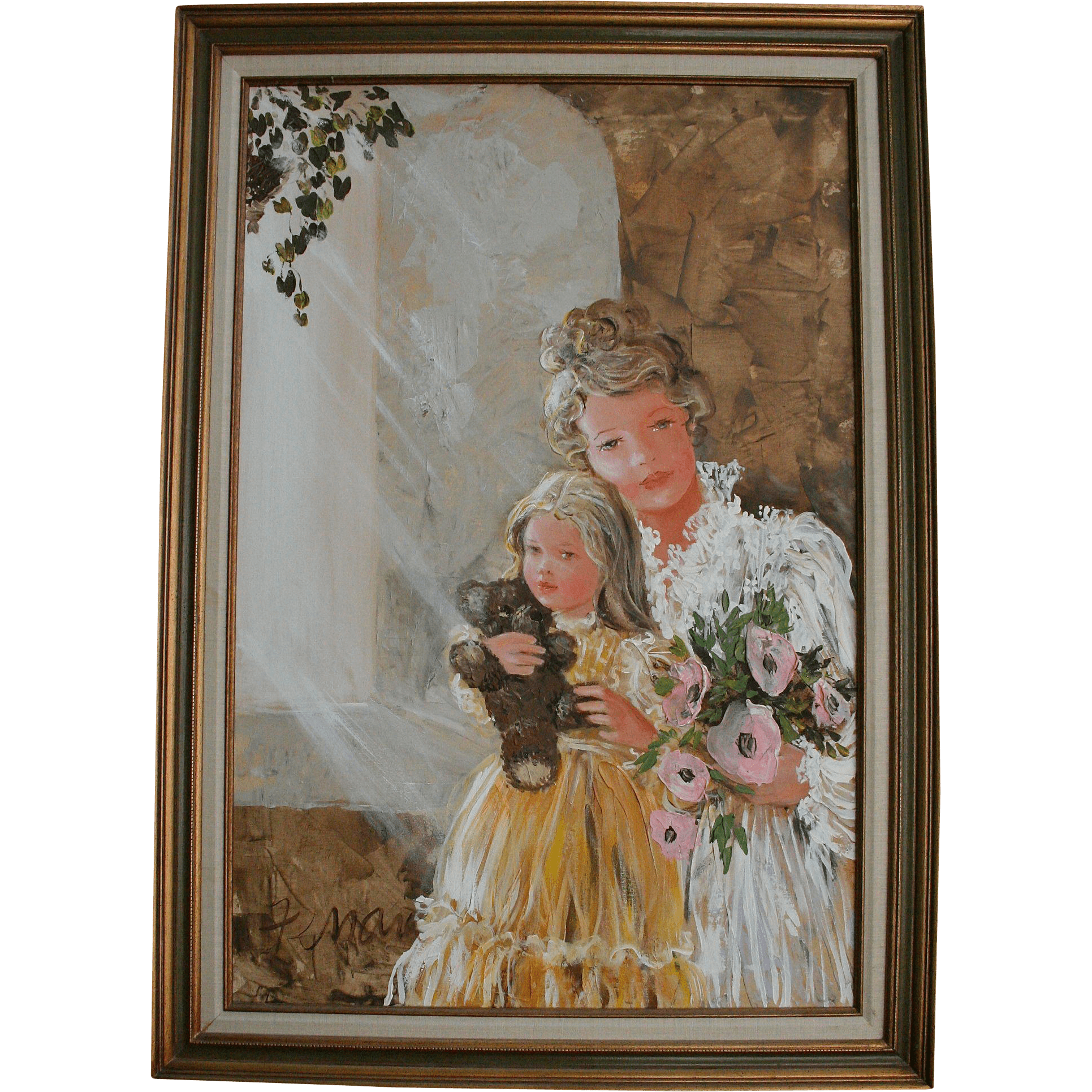 Large Mother Daughter Amp Teddy Bear Doll Mid Century Oil Painting From Randomharvest On Ruby Lane