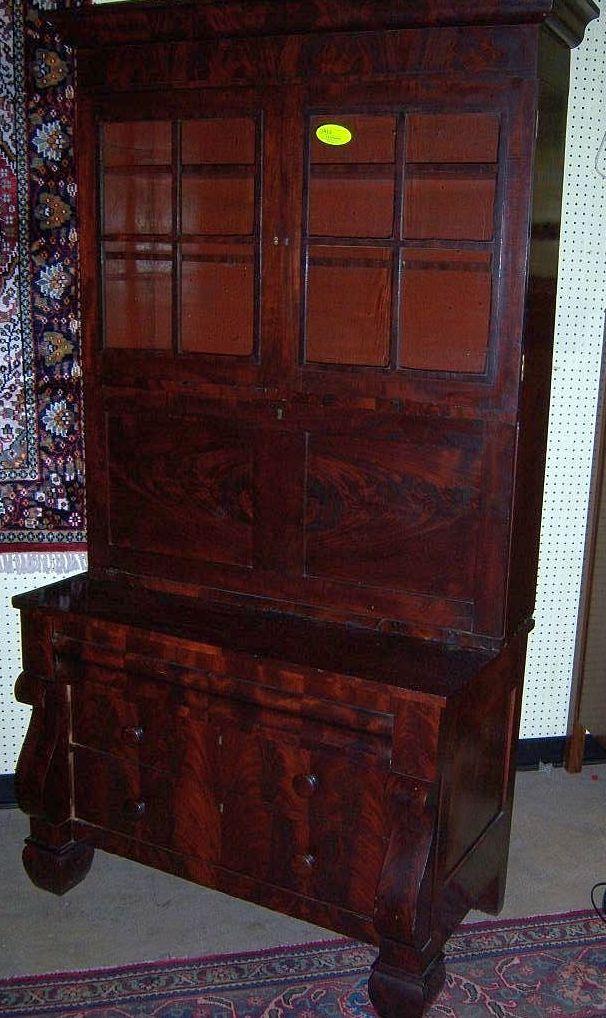 Mahogany Secretary Desk W Bookcase Federal Period Empire