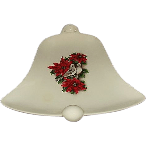 Holiday Serving Dish Bell Shaped Poinsettias And Doves