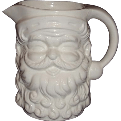 Santa White Ceramic Pitcher Made In Japan 5 Inches From