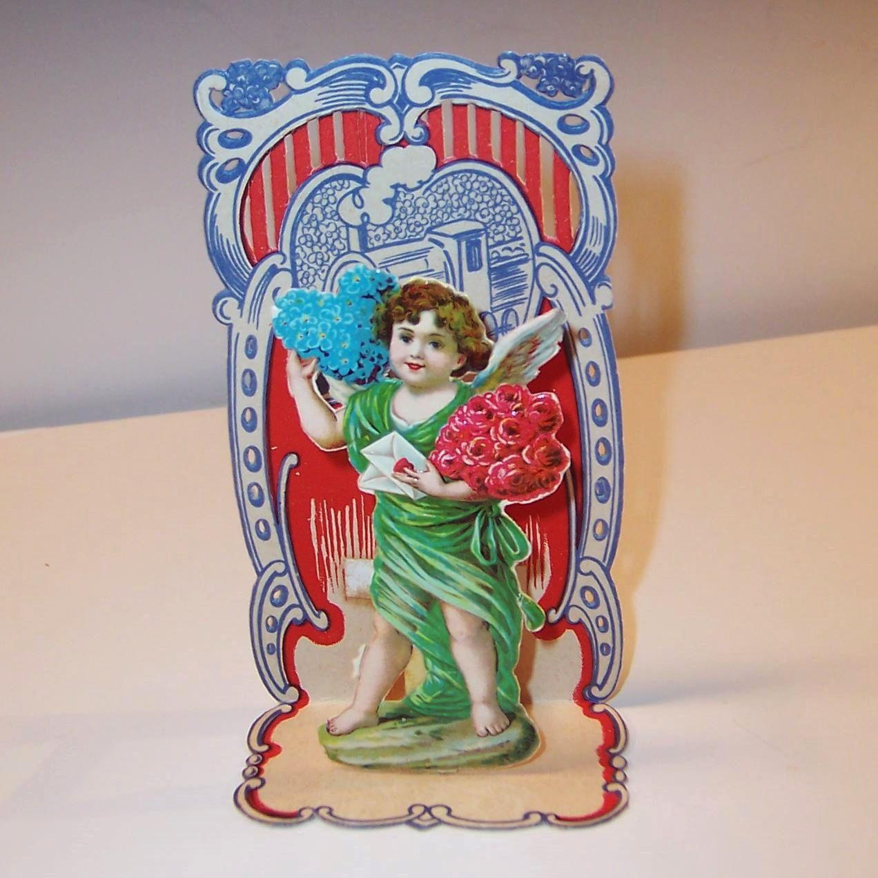 Vintage German Made Angelic Cupid Roses Amp Hearts From