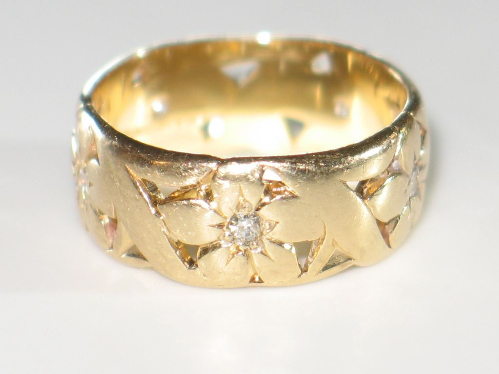 ARTCARVED Wide Vintage Wedding Band With Diamonds And 14k