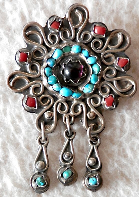 MEXICAN STERLING BroochPendant With Semi Precious Stones