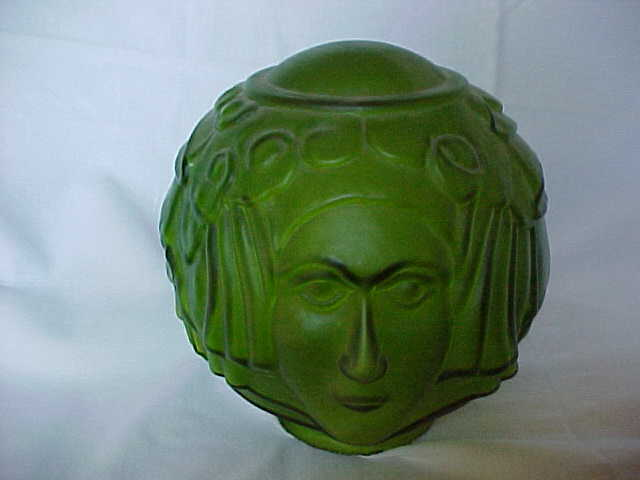 Art Deco Lady Face Green Glass Lamp Shade From