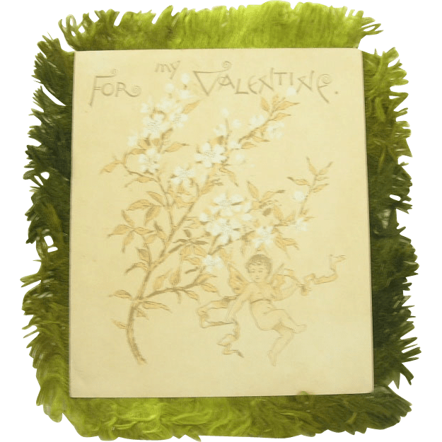 Victorian Valentine Card Double Sided Green Silk Fringe