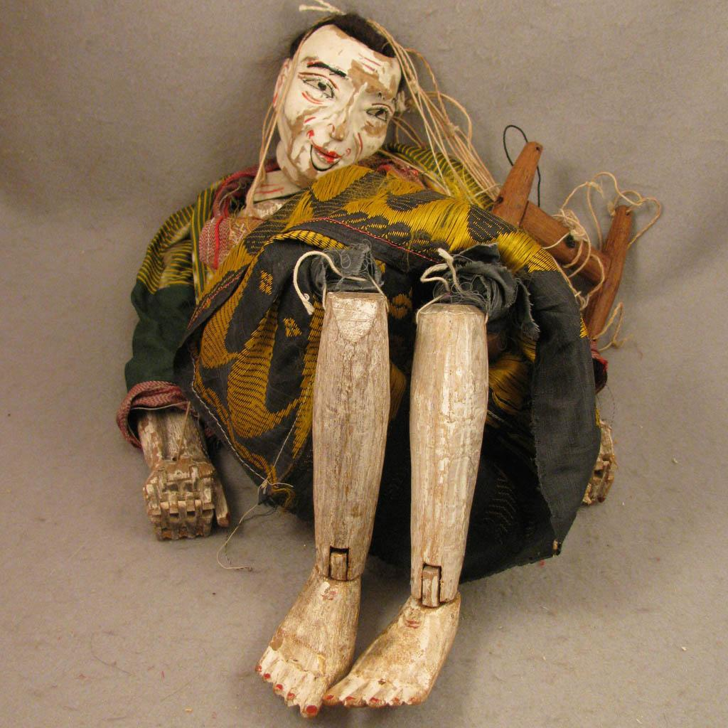 24 Inch Antique Myanmar Burma Wood Puppet Doll Old Woman